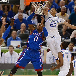 Apr 2, 2012; New Orleans, LA, USA; Kansas Jayhawks forward Thomas Robinson (0) goes up for a shot as Kentucky Wildcats forward Anthony Davis (23) defends during the first half in the finals of the 2012 NCAA men's basketball Final Four at the Mercedes-Benz Superdome. Mandatory Credit: Derick E. Hingle-US PRESSWIRE
