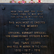 The Tank Memorial at Pozieres. It was from this point on the 5th September 1916 that three tanks set off on the first day they were ever used as a weapon of war<br /> The Battle of Pozi&egrave;res was a two week struggle (23 July &ndash; 7 August 1916) by British and Australian divisions for the capture of the village of Pozieres during  the 1916 battle of the Somme.