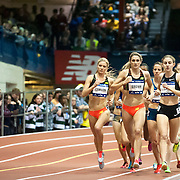 February 15, 2014 - New York, NY : <br /> Athletes including Mary Cain, foreground right, compete in the NYRR Women's Wanamaker Mile (ELITE) during the 2014 NYRR Millrose Games at the The New Balance Track & Field Center at The Armory in Washington Heights, Manhattan, on Saturday afternoon. Cain finished first. <br /> CREDIT: Karsten Moran for The New York Times