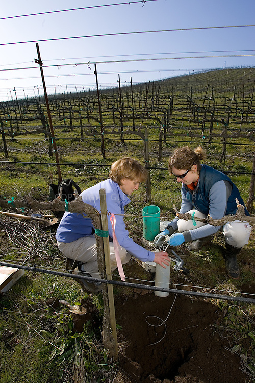 Pam Matson, Stanford Earth Sciences Dean with graduate student Eve Hinckley at OSR ranch, Napa, California. They are conducting water sampling for later analysis.