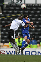 Photo: Pete Lorence.<br />Derby County v Cardiff City. Coca Cola Championship. 17/03/2007.<br />Darren Moore and Steven Thompson battle for the ball.
