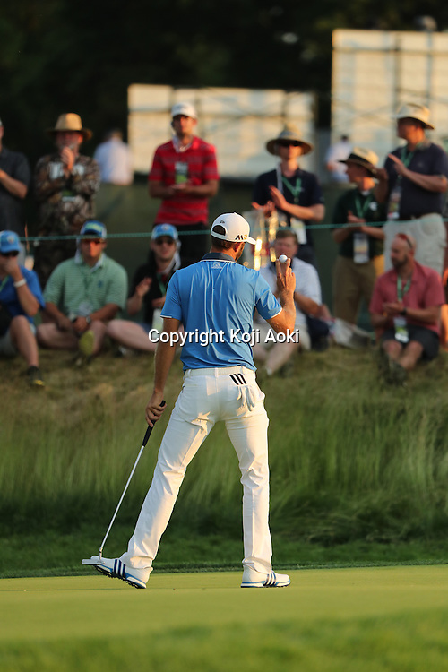 Dustin Johnson (USA),<br /> JUNE 18, 2016 - Golf :<br /> Dustin Johnson of the United States celebrates on 10th hole during the third round of the U.S. Open Championship at Oakmont Country Club in Oakmont, Pennsylvania, United States of America. (Photo by Koji Aoki/AFLO SPORT)