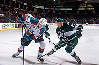 KELOWNA, CANADA - FEBRUARY 2:  Wyatte Wylie #29 of the Everett Silvertips stick checks Jack Cowell #8 of the Kelowna Rockets during first period on FEBRUARY 2, 2018 at Prospera Place in Kelowna, British Columbia, Canada.  (Photo by Marissa Baecker/Shoot the Breeze)  *** Local Caption ***