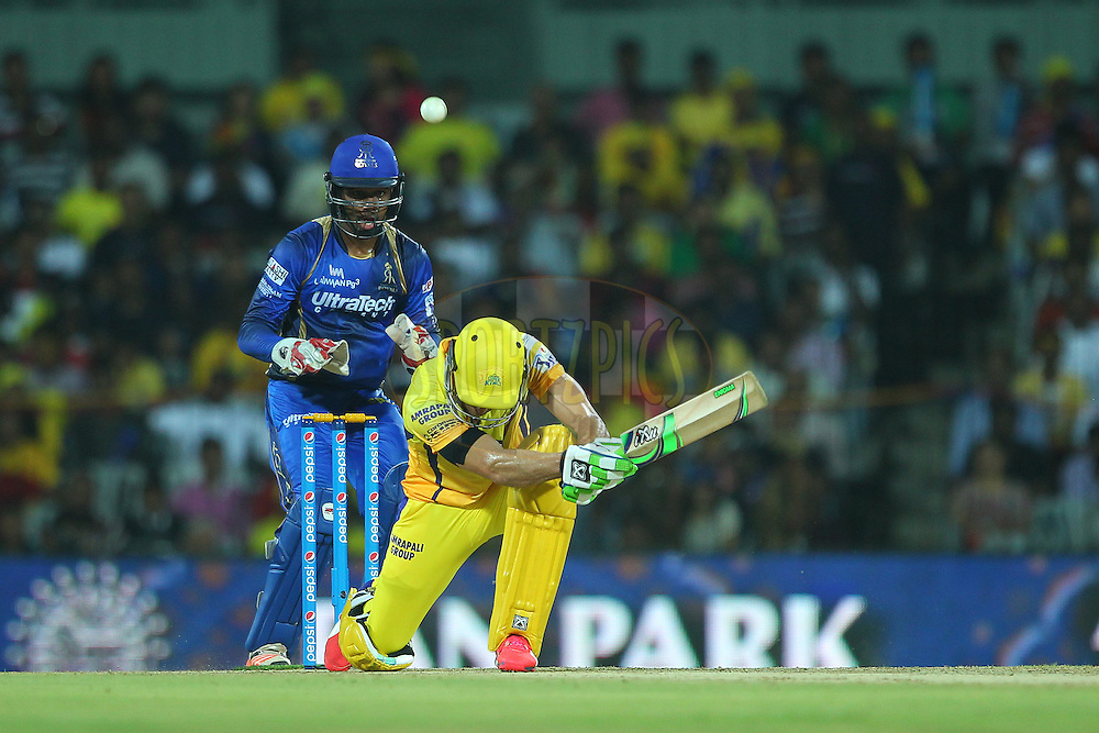 Faf Du Plessis of the Chennai Superkings plays a scoop shot during match 47 of the Pepsi IPL 2015 (Indian Premier League) between The Chennai Superkings and The Rajasthan Royals held at the M. A. Chidambaram Stadium, Chennai Stadium in Chennai, India on the 10th May 2015.<br /> <br /> Photo by:  Ron Gaunt / SPORTZPICS / IPL