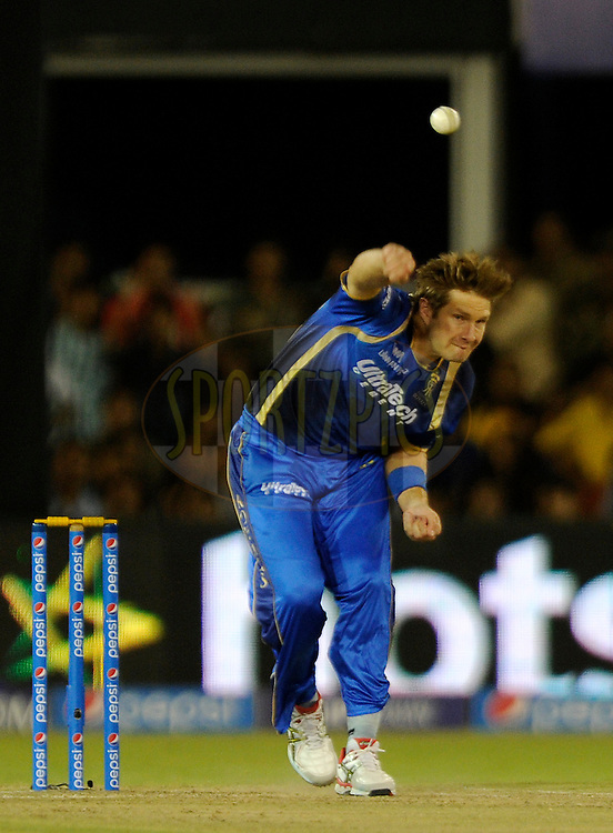 Shane Watson captain of Rajasthan Royals bowls during match 22 of the Pepsi IPL 2015 (Indian Premier League) between The Rajasthan Royals and The Royal Challengers Bangalore held at the Sardar Patel Stadium in Ahmedabad , India on the 24th April 2015.<br /> <br /> Photo by:  Pal Pillai / SPORTZPICS / IPL