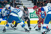 REGINA, SK - MAY 19: The puck is dropped between Giorgio Estephan #29 of Swift Current Broncos and Samuel L'Italien #9 of Acadie-Bathurst Titan at the Brandt Centre on May 19, 2018 in Regina, Canada. (Photo by Marissa Baecker/CHL Images)