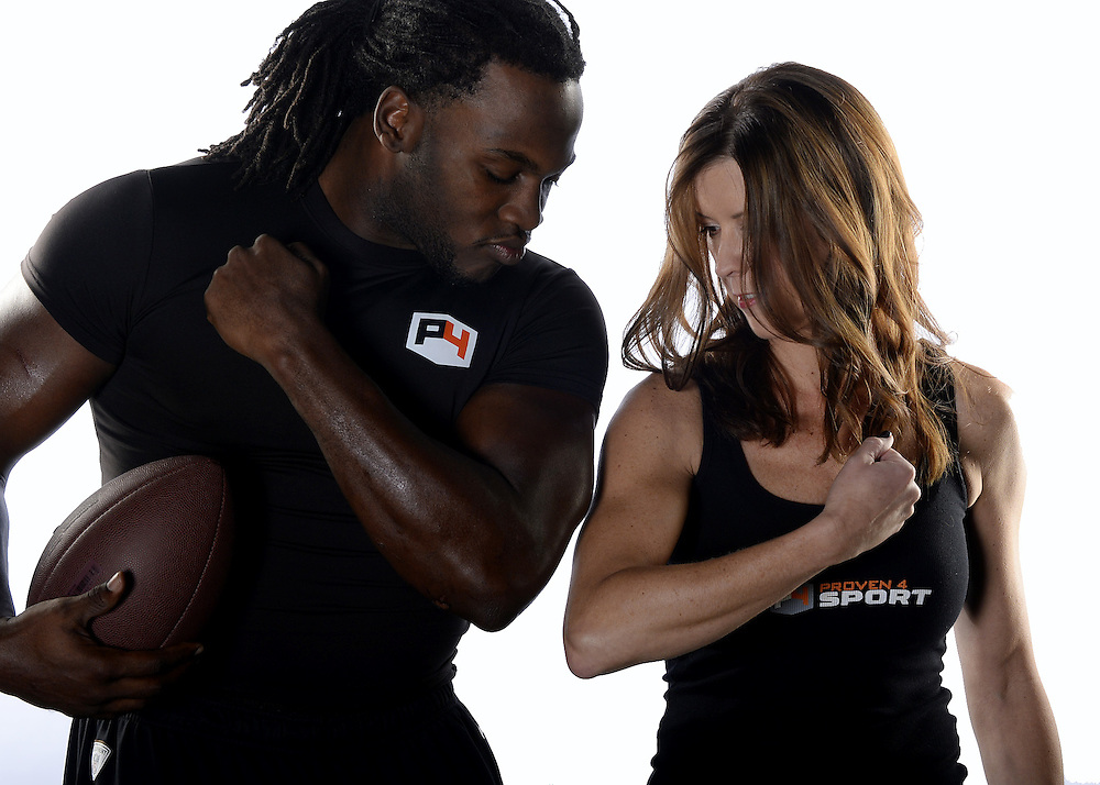 NOVEMBER 18 - Proven4 photo shoot with endorsing athletes Joique Bell, Valerie Smith, Vince Murdock and Proven4 CEO Shelley Winslow at the Total Sports Complex, 30990 S. Wixom Rd, Wixom, MI on November 18, 2014.  (Photo by Ron Vesely)