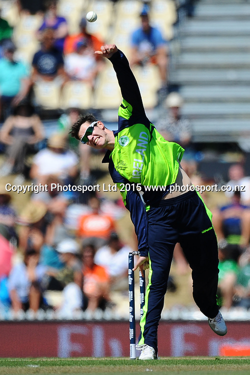 Ireland player George Dockrel during the 2015 ICC Cricket World Cup match between West Indies and Ireland. Saxton Oval, Nelson, New Zealand. Monday 16 February 2015. Copyright Photo: Chris Symes / www.photosport.co.nz