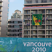 Winter Olympics, Vancouver, Canada 2010...The Australian Boxing Kangeroo flag proudly rests on the side of the Athletes villiage building housed by the Australian team. The flag is causing controversy with the Olympic Commitee who have asked Australia to remove it. 6th February 2010. Photo Tim Clayton