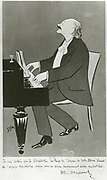 Jules Massenet (1842-1912) at the piano.  French composer best remembered for his operas. Cartoon by SEM (Georges Goursat)