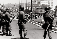 US national guard taking over streets of Berkeley California during student riots in 1960's.