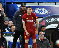 Football - 2019 / 2020 Emirates FA Cup - Fifth Round: Chelsea vs. Liverpool<br /> <br /> Jurgen Klopp - Liverpool Manager with James Milner, at Stamford Bridge.<br /> <br /> COLORSPORT/ANDREW COWIE