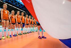 06-04-2017 NED:  CEV U18 Europees Kampioenschap vrouwen dag 5, Arnhem<br /> Nederland verliest met 3-1 van Italie en speelt voor de plaatsen 5-8 / Team Nederland