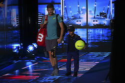 November 13, 2017 - London, England, United Kingdom - David Goffin of Belgium walks out for his Singles match against Rafael Nadal of Spain during day two of the Nitto ATP World Tour Finals at O2 Arena, London on November 13, 2017. (Credit Image: © Alberto Pezzali/NurPhoto via ZUMA Press)
