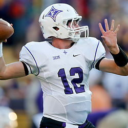 Oct 26, 2013; Baton Rouge, LA, USA; Furman Paladins quarterback Reese Hannon (12) prior to a game against the LSU Tigers at Tiger Stadium. Mandatory Credit: Derick E. Hingle-USA TODAY Sports