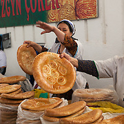 Bread sellers at the Russian Bazaar, Ashgabat, Turkmenistan