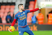 Southampton goalkeeper Fraser Forster warming up before the during the Barclays Premier League match between Bournemouth and Southampton at the Goldsands Stadium, Bournemouth, England on 1 March 2016. Photo by Graham Hunt.