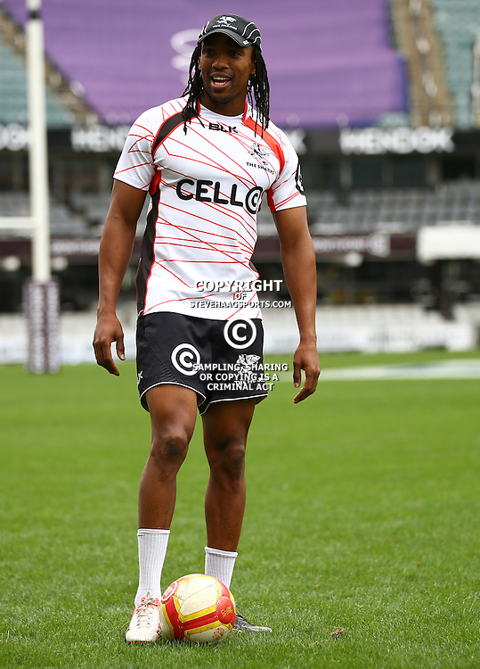 DURBAN, SOUTH AFRICA - SEPTEMBER 09: Odwa Ndungane during the Cell C Sharks XV captains run at Growthpoint Kings Park on September 09, 2016 in Durban, South Africa. (Photo by Steve Haag/Gallo Images)