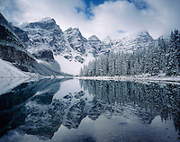 Autumn snowfall on Moraine Lake, Banff National Park Alberta Canada