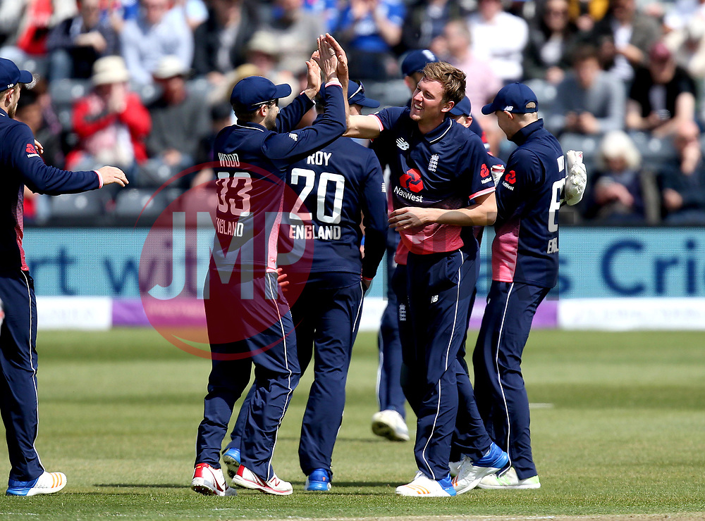 Jake Ball of England celebrates with teammates after taking the wicket of Andrew Balbirnie of Ireland - Mandatory by-line: Robbie Stephenson/JMP - 05/05/2017 - CRICKET - Brightside County Ground - Bristol, United Kingdom - England v Ireland - Royal London One Day Cup