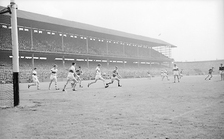 GAA All Ireland Minor football final Derry v. Kerry 26th September 1965 Croke Park...T. Quinn Derry back clears the ball from his own goalmouth as kerry forwrads move in *** Local Caption *** It is important to note that under the COPYRIGHT AND RELATED RIGHTS ACT 2000 the copyright of these photographs are the property of the photographer and they cannot be copied, scanned, reproduced or electronically stored in any form whatsoever without the written permission of the photographer