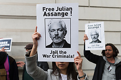 May 2, 2019 - London, England, United Kingdom - Supporters of Julian Assange gather outside Westminster Magistrates Court where the hearing on the US extradition request of the WikiLeaks founder over conspiracy with Chelsea Manning in obtaining and publishing the Iraq War Logs is due to take place on 02 May, 2019 in London, England. Yesterday, Julian Assange was sentenced by Southwark Crown Court to 50 weeks in prison for breaching bail conditions whilst seeking and obtaining political asylum at the Ecuadorian Embassy in London. (Credit Image: © Wiktor Szymanowicz/NurPhoto via ZUMA Press)