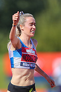 Eilish MCCOLGAN celebrates as she wins the Women's 5000m Final during the Muller British Athletics Championships at Alexander Stadium, Birmingham, United Kingdom on 25 August 2019.