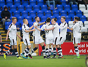 Dundee's Marcus Haber is congraulated after scoring - Inverness Caledonian Thistle v Dundee in the Ladbrokes Scottish Premiership at Caledonian Stadium, Inverness.Photo: David Young<br /> <br />  - © David Young - www.davidyoungphoto.co.uk - email: davidyoungphoto@gmail.com