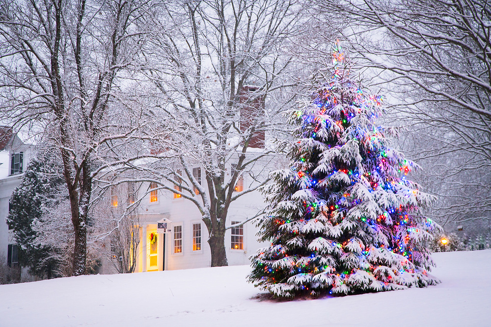 Holiday Decorations adorn the town of Wiscasset, Maine.