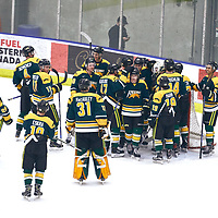 Celebrations during the Men's Hockey Home Game on Sat Jan 19 at Co-operators Center. Credit: Arthur Ward/Arthur Images