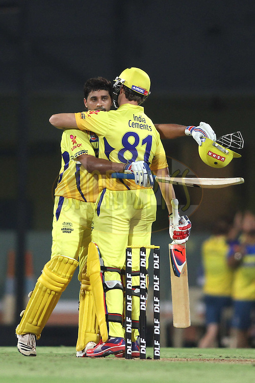 Murali Vijay of the Chennai Super Kings celebrates his hundred with Albie Morkel of the Chennai Super Kings during the second Qualifying match of the Indian Premier League ( IPL) 2012  between The Chennai Superkings and the Delhi Daredevils held at the M. A. Chidambaram Stadium, Chennai on the 25th May 2012..Photo by Shaun Roy/IPL/SPORTZPICS