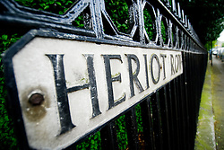 Detail of street sign at Heriot Row in historic New Town in Edinburgh Scotland