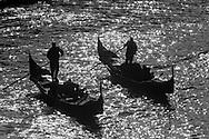 Italy. Venice. Grand canal  . Gondolas and vaporetos,   Venice - Italy  / le grand canal, gondoles et vaporetos   Venise - Italie