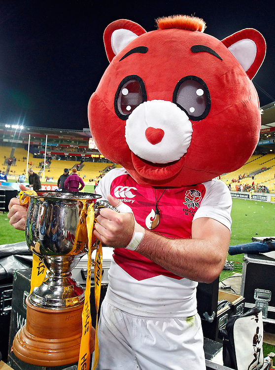 England's Mat Turner gets into the Wellington Sevens' sprit and dons a care bear head while holding the trophy after winning the IRB International Rugby Sevens final against Kenya at Westpac Stadium, Wellington, New Zealand, Saturday, February 02, 2013. Credit: Dean Pemberton.