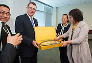 Houston ISD Superintendent Dr. Terry Grier meets with a delegation of educators from Renmin University of China, April 15, 2013, at the Hattie Mae White Building in Houston.