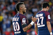 Neymar da Silva Santos Junior - Neymar Jr (PSG) greated supporters and fans during the French championship L1 football match between Paris Saint-Germain (PSG) and Toulouse Football Club, on August 20, 2017, at Parc des Princes, in Paris, France - Photo Stephane Allaman / ProSportsImages / DPPI