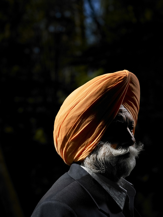 Portrait of Sikh man 60-65 years, outdoors
