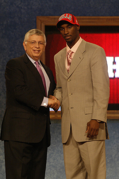 Ben Gordon (R) is chosen by the Chicago Bulls and is congratulated by NBA commissioner David Stern the Theater at Madison Square Garden in the New York City, New York, Thursday 24 May 2004. Gordon is the 3rd overal pick in the 2004 NBA draft  EPA/Andrew GOMBERT