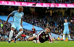 Jeff Hendrick of Burnley goes down after a tackle by Fernandinho of Manchester City - Mandatory by-line: Matt McNulty/JMP - 02/01/2017 - FOOTBALL - Etihad Stadium - Manchester, England - Manchester City v Burnley - Premier League