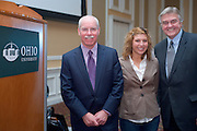 """19068Scripps Day: Keynote Speaker Rich Boehne, President and CEO of The E.W. Scripps Company..""""The Future of the Communications Industry""""..Rich Boehne, President and CEO of The E.W. Scripps Company and Anne Porembski, recipient of Don Paris Scholarship, which included an internship in New York City , And Thomas Carpenter, Chair, Classics And World Religions"""