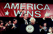 George H.Walker Bush on election night in November 1988 in Houston Texas.  In the bnackground is George W. Bush and Laura Bush...Photograph by Dennis Brack BBBs 20