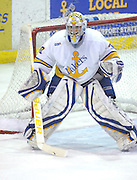 Lake Superior State goaltender Pat Inglis watches the action come towards him during the Lakers Friday night game against Notre Dame in Sault Ste. Marie.