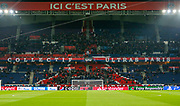 Inside general view of the Parc des Princes stadium with ultra banner flag during the Champions League Round of 16 2nd leg match between Paris Saint-Germain and Manchester United at Parc des Princes, Paris, France on 6 March 2019.