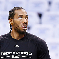 08 May 2016: San Antonio Spurs forward Kawhi Leonard (2) warms up prior to the Oklahoma City Thunder 111-97 victory over the San Antonio Spurs, during Game Four of the Western Conference Semifinals of the NBA Playoffs at the Chesapeake Energy Arena, Oklahoma City, Oklahoma, USA.