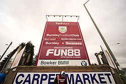 The fixture sign showing todays Barclays Premier League match between Burnley and Swansea City - Photo mandatory by-line: Matt McNulty/JMP - Mobile: 07966 386802 - 28/02/2015 - SPORT - Football - Burnley - Turf Moor - Burnley v Swansea City - Barclays Premier League