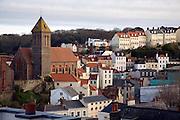 Buildings on hillsides, St Peter Port, Guernsey, Channel Islands, UK