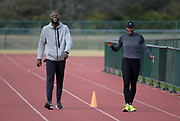 LaShawn Merritt (left) and Francena McCorory during a workout in Kissimmee, Fla., Thursday, Jan. 25, 2018.