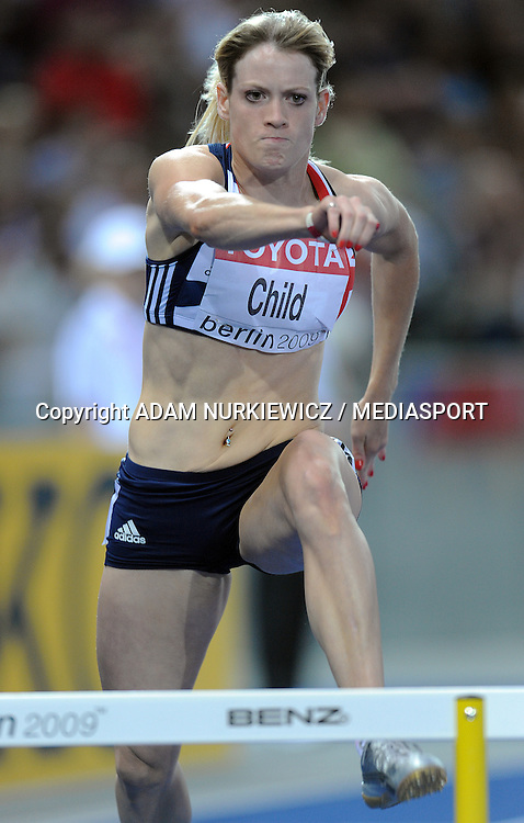 EILIDH CHILD (GREAT BRITAIN) COMPETES IN 400 METERS HURDLES WOMEN SEMI FINAL ON THE OLYMPIC STADION ( OLIMPIASTADION ) DURING 12TH IAAF WORLD CHAMPIONSHIPS IN ATHLETICS BERLIN 2009..BERLIN , GERMANY , AUGUST 18, 2009..( PHOTO BY ADAM NURKIEWICZ / MEDIASPORT )..PICTURE ALSO AVAIBLE IN RAW OR TIFF FORMAT ON SPECIAL REQUEST.