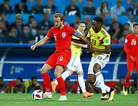 Harry Kane (England) and Yerry Mina (Colombia) <br /> Moscow 03-07-2018 Football FIFA World Cup Russia 2018 <br /> Colombia - England / Colombia - Inghilterra<br /> Foto Matteo Ciambelli/Insidefoto