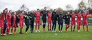 FC Helsingørs spillere og ledere jubler foran fans efter kampen i 2. Division mellem Boldklubben Avarta og FC Helsingør den 10. november 2019 i Espelunden (Foto: Claus Birch).